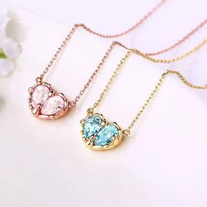 Penfine Jewelry - Heart Blue Topaz/Pink Crystal Silver Pendant